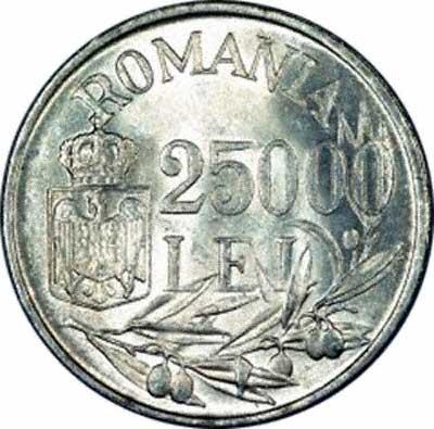 Reverse of 1946 Romanian Silver 25,000 Lei Coin