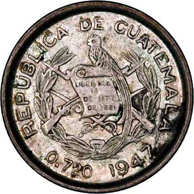 Obverse of 1947 Guatemalan Five Cents