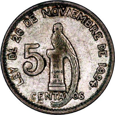 Reverse of 1947 Guatemalan Five Cents