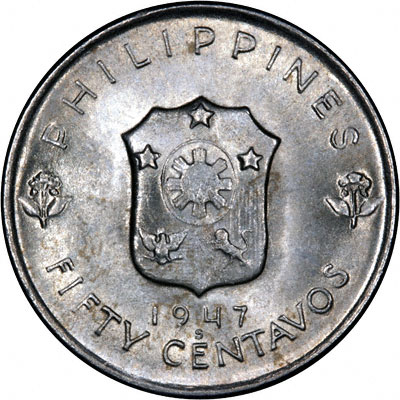 Reverse of 1947 Philippines 50 Cents