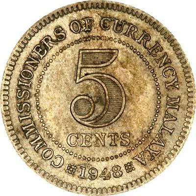 Reverse of 1948 British Malaya 5 Cents