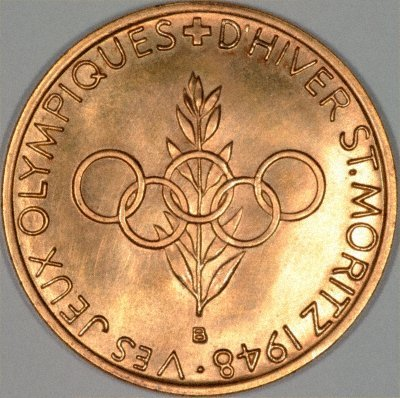 Reverse of 1948 Olympic Gold Medal