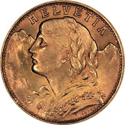 Obverse of 1949 Swiss 20 Francs
