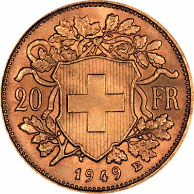 Reverse of 1949 Swiss 20 Francs