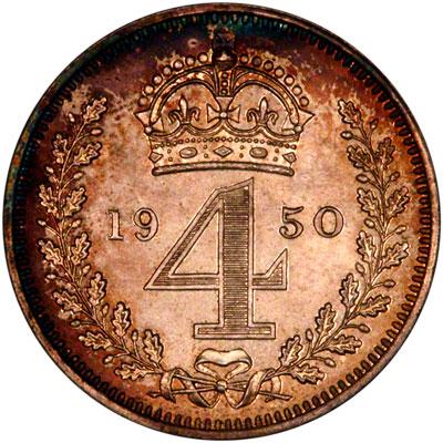 Reverse of 1950 Maundy Threepence