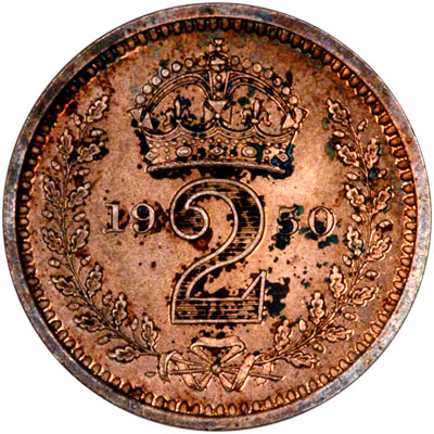 Reverse of 1950 Maundy Twopence