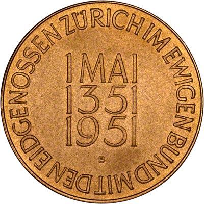 Reverse of 1951 Swiss Gold Medallion