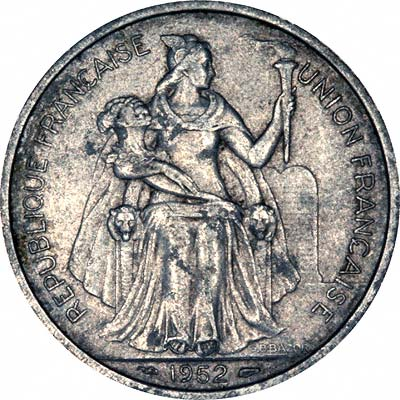 Obverse of 1952 French Oceania 5 Francs
