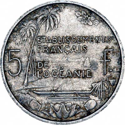 Reverse of 1952 French Oceania 5 Francs