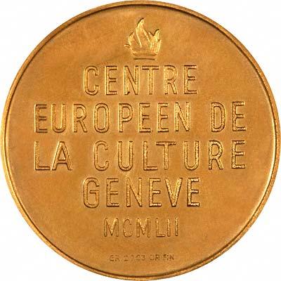 Reverse of 1952 Geneva European Cultural Centre Gold Medallion