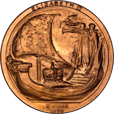 Reverse of 1953 Copper Coronation Medallion