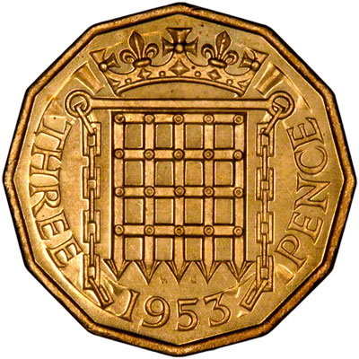 three pence coin 1953