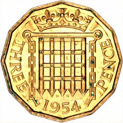Reverse of 1954 Brass Threepence