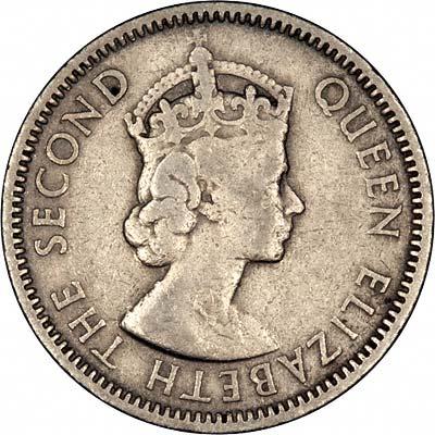 Obverse of 1955 Twenty Five Cents