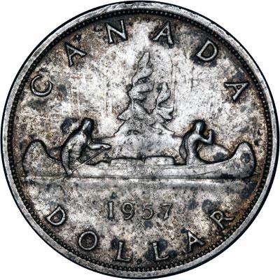 Reverse of 1957 Canada Silver Dollar