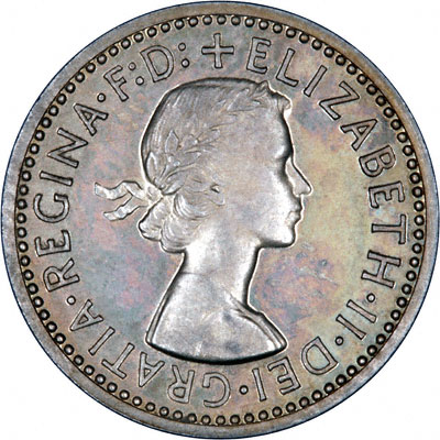 Obverse of 1957 Maundy Fourpence
