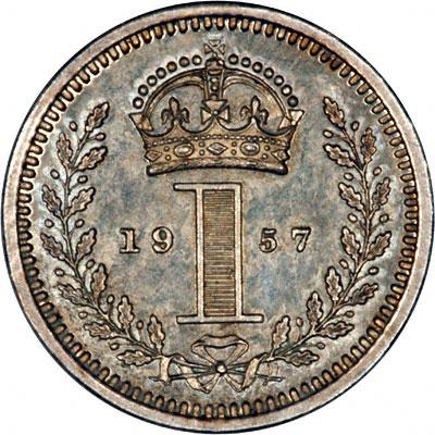 Reverse of 1957 Maundy Penny