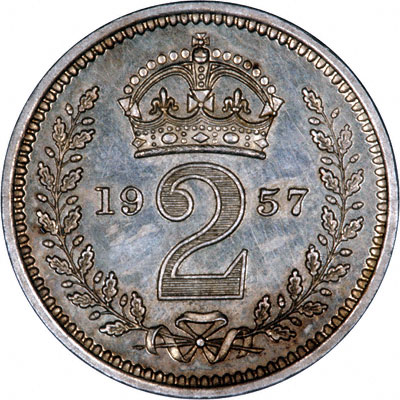 Reverse of 1957 Maundy Twopence