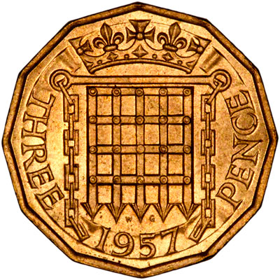 Portcullis on the Reverse of a 1967 Brass Threepence