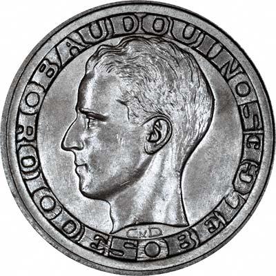 Obverse of 1958 Belgian 5 Francs