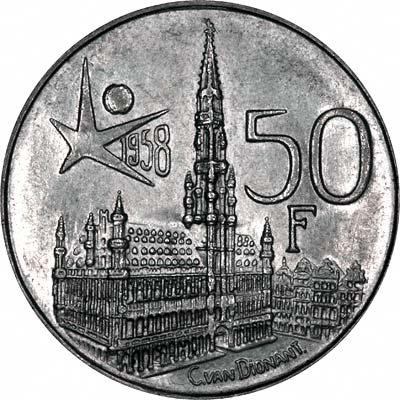 Reverse of 1958 Belgian 5 Francs