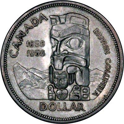 Reverse of 1958 Canada Silver Dollar - British Columbia Centennial