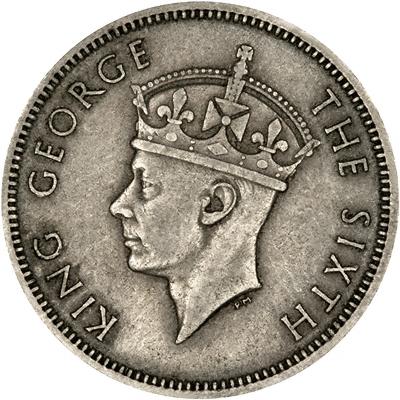 Obverse of 1948 British Malaya 20 Cents