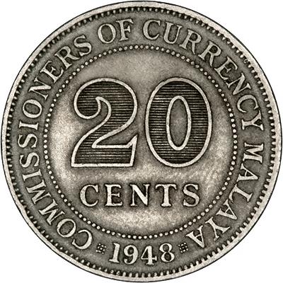 Reverse of 1948 British Malaya 20 Cents