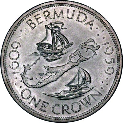 Reverse of 1959 Bermuda Silver Crown - 350th Anniversary of Colony Founding