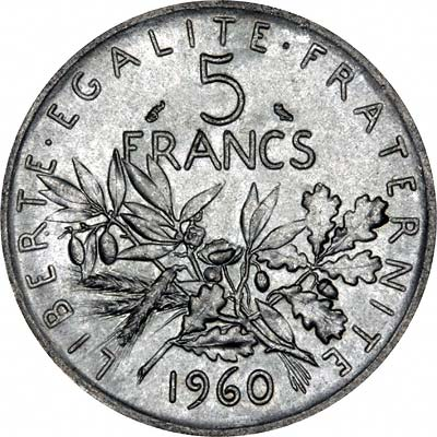 Reverse of 1960 French Silver 5 Francs