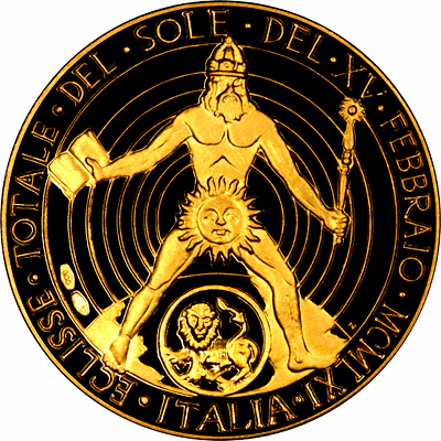 Reverse of Total Eclipse of the Sun Gold Medallion