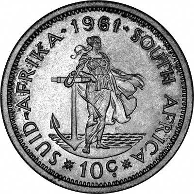 Reverse of 1961 South African 10 Cents