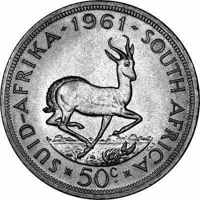Reverse of 1961 South African 50 Cents