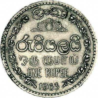 Obverse of 1963 Ceylon One Rupee