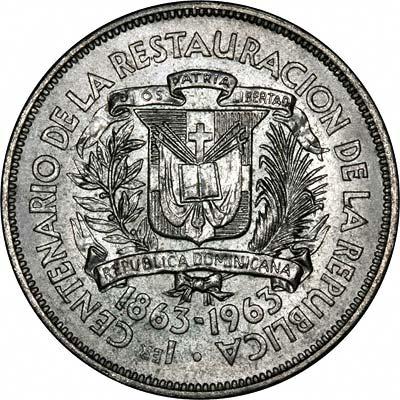 Obverse of 1963 Dominican Republic Silver Un Peso