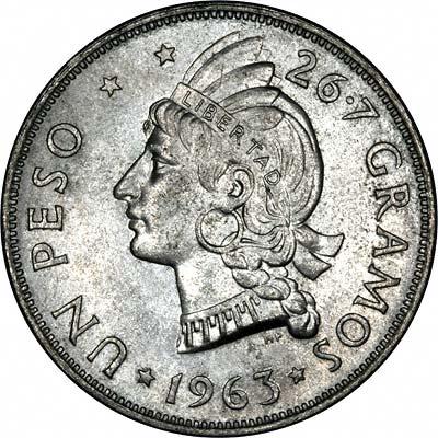 Native Princess on Reverse of 1963 Dominican Republic Silver Un Peso