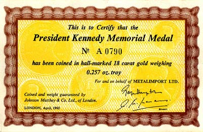 1963 Kennedy Small Gold Medallion Certificate