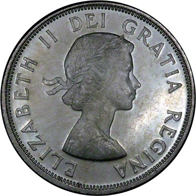 Obverse of 1964 Canadian Charlotte Town Silver Dollar