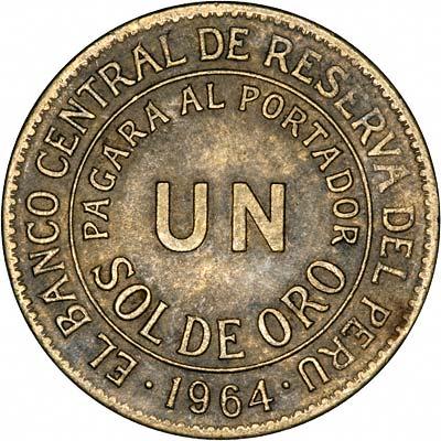 Obverse of 1964 Peru Silver 1 Sol