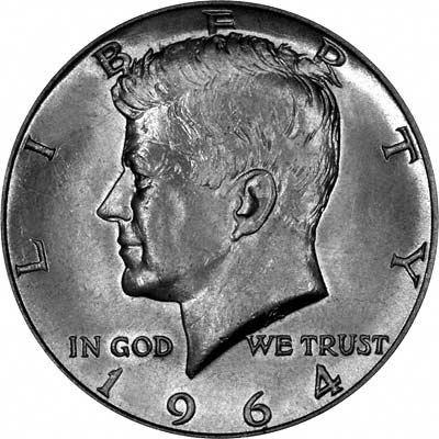 Obverse of 1964 Kennedy Half Dollar