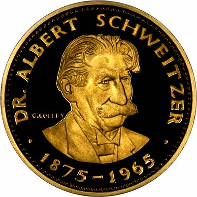 Obverse of 1965 Dr. Albert Schweitzer Gold Medallion