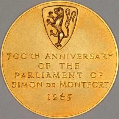 Reverse of Gold Simon de Montfort Medallion