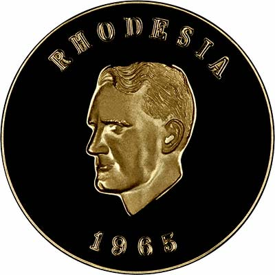 Obverse of 1965 Rhodesian Independence Anniversary Gold Medallion