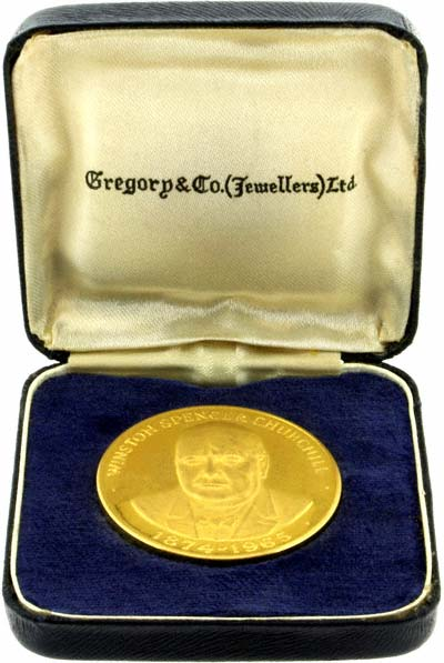 Gold Churchill Medallion in Presentation Box