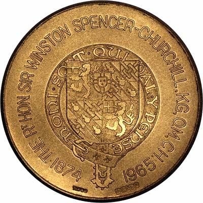 Reverse of 1965 Churchill Gold Medallion