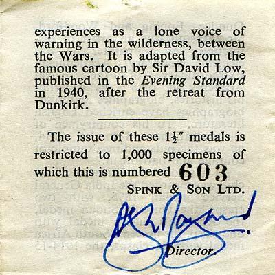 1965 Churchill Gold Medallion Certificate