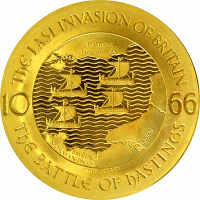 Reverse of 1066 - 1966 Battle of Hastings Gold Medallion by Spink