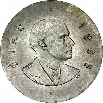 Obverse of 1966 Irish Silver Ten Shillings