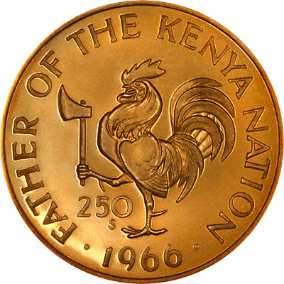 Father of the Kenya Nation' on Reverse of 1966 Kenyan Gold Proof 250 Shillings