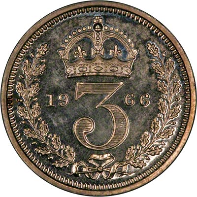Reverse of 1966 Maundy Threepence